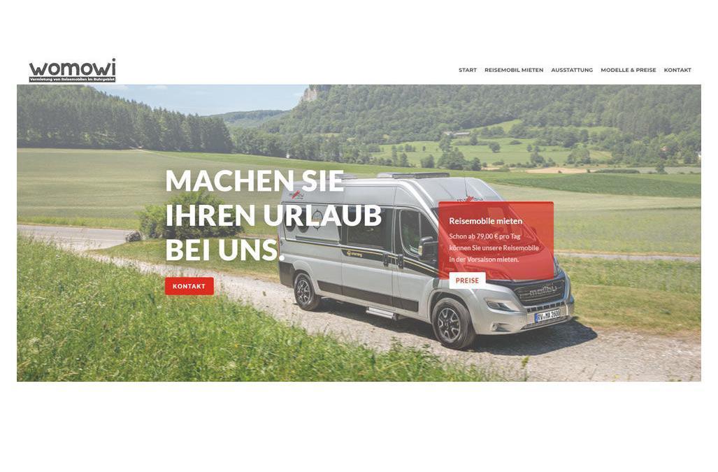 Homepage für Reisemobil-Vermietung